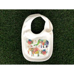 オーガニックコットン ぞう モンゴベス スタイ赤ちゃん用よだれかけ bib 動物柄 象 出産祝い お誕生日 プレゼント ラッピング無料  MONGOBESS|mongobesswith