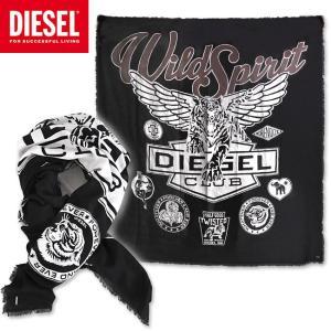 DIESEL ディーゼル ストール マフラー スカーフ SBLUE SCARF ブラック 黒 ヘリンボーンコットン プリント メンズ アクセサリー 小物|monkey