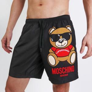 MOSCHINO モスキーノメンズ水着 ボードショーツ サーフパンツ LIFE GUARD TEDDY BLACK ミディアム丈 膝上 男性水着 スイムウェア ご返品不可 monkey