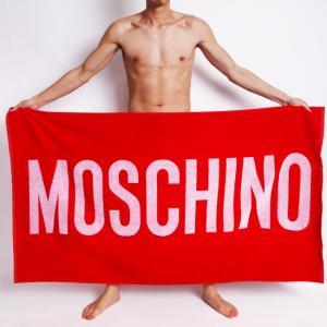 cc1303612e4 MOSCHINO モスキーノ 大判 ビーチタオル バスタオル レッド 赤 ロゴプリント 男性水着 スイムウェア 【moschino モスキーノ】