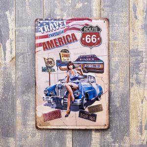 アメリカン 雑貨 メタルプレート アイアン ルート66 ROUTE トラベルアメリカン インテリア|monkeypanda333