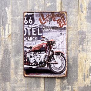 アメリカン 雑貨 メタルプレート アイアン ルート66 ROUTE カッコいい バイク インテリア|monkeypanda333
