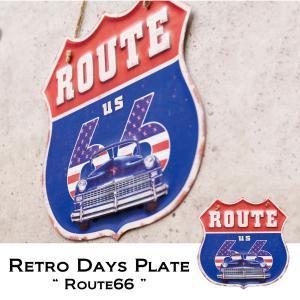 レトロデイズ ダイカットプレート ROUTE66 ルート6 6アメリカン雑貨 メタル インテリア|monkeypanda333
