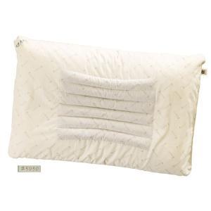 滝水石枕 フィットタイプ 低 55×35×4/6cm ベージュ 綿100%|mono-allu
