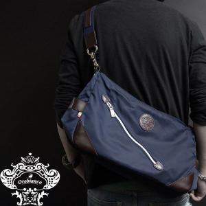 Orobianco オロビアンコ バッグ SILVESTRA DOUBLE ブルー/マロン ブルー/ナイロン/レザー/イタリア製/ビジネス/ショルダーバッグ mono-b