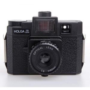 HOLGA ホルガ フィルムカメラ H-120GCFN ブラック ブローニーフィルム使用 カラーフラッシュ付きモデル。