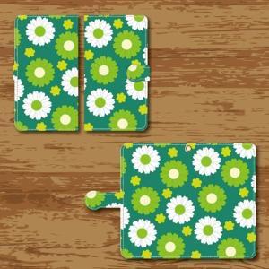 スマホケース 手帳型ケース Android アンドロイド 昭和 デザイン 花柄 緑色 白色|monobase