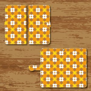 スマホケース 手帳型ケース Android アンドロイド 昭和 デザイン 花柄 白色 橙色 黄色|monobase