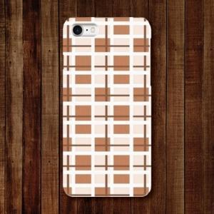 スマホケース ハードケース iPhone アイフォン チェック柄 クリーム色|monobase