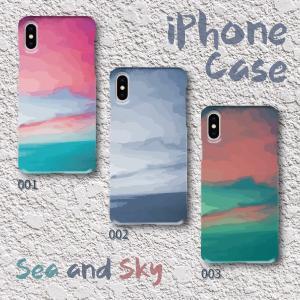 スマホケース ハードケース iPhone アイフォン グラデーション 水彩画調 海と空 シンプル 絵具調|monobase