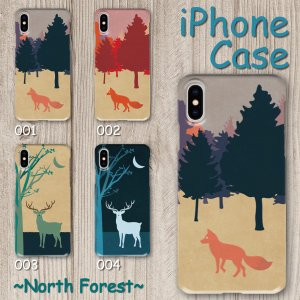 スマホケース ハードケース iPhone アイフォン 風景 森 キツネ シカ 北の森 動物柄 森林 ノスタルジック イラスト monobase