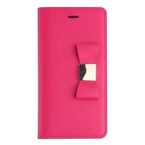 iPhone6s Plus/6 Plus ケース リボン 本革 牛革 手帳型 女子 おすすめ 人気 アイフォン6プラス Ribbon Classic Diary ホットピンク|monocase-store