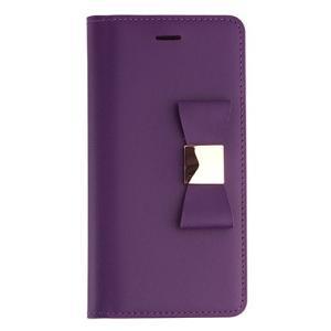 iPhone6s Plus/6 Plus ケース リボン 本革 牛革 手帳型 女子 おすすめ 人気 アイフォン6プラス Ribbon Classic Diary パープル|monocase-store
