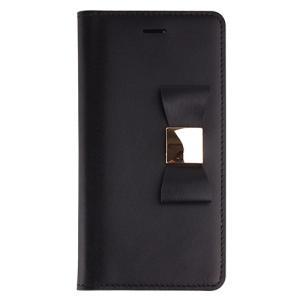 iPhone6s Plus/6 Plus ケース リボン 本革 牛革 手帳型 女子 おすすめ 人気 Ribbon Classic Diary ブラック|monocase-store