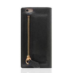 iPhone6s Plus/6 Plus ケース 小銭入れ付き! Saffiano Zipper Case ブラック|monocase-store