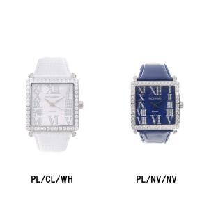 腕時計 ビックフェイス スクエア スワロフスキー ジルコニア レディース メンズ シルバー 本革 日本製 FACEAWARD LOREN FA012A|monocase-store