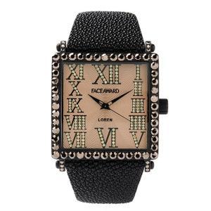 腕時計 ビックフェイス スクエア スワロフスキー ジルコニア レディース メンズ 本革 日本製 FACEAWARD LOREN FA012A MBK/GD/RAYBK|monocase-store