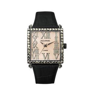 腕時計 ビックフェイス スクエア スワロフスキー ジルコニア レディース メンズ 本革 日本製 FACEAWARD LOREN FA012A MBK/GD/BK|monocase-store