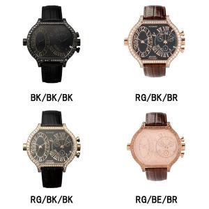 腕時計 メンズ ビックフェイス スワロフスキー ジルコニア クロノグラフ デュアルタイム クォーツ FACEAWARD KRUGER FA007G|monocase-store