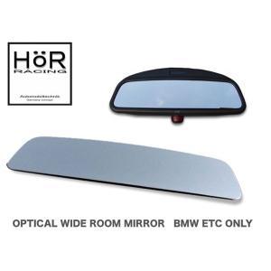 HoR RACING オプティカル ワイド・ルームミラー 緩曲タイプ クローム BMW 純正ミラーETC装着車 専用 (貼り付けタイプ)|monocolle