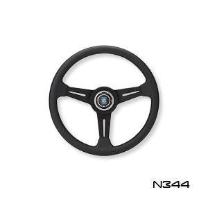 NARDI ナルディ ステアリング CLASSIC パンチングレザー&ブラックスポーク&グレークロスステッチ 340mm (N344)|monocolle