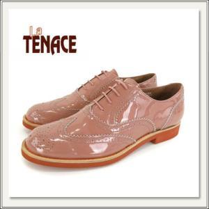 La Tenace(ラテナーチェ)エナメルレザーオックスフォードシューズ[グレーピンク/ベージュ][革靴/紐靴/レースアップ][おじ靴/マニッシュ][レディース]|monofactory