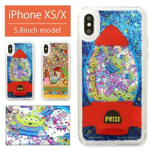 iPhoneXS ケース iPhoneX キャラクター ディズニー グリッターケース クリア ラメ入...