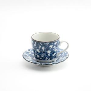 ティーカップ デミタスカップ 唐草模様 藍染 ジャパンブルー カップ&ソーサー コーヒー エスプレッソ だみからくさ デミC/S monomono-shop