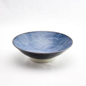 和食器 陶器 和皿 モダン オフケ 青海波 中皿 日本製 藍染 ジャパンブルー おしゃれ カフェ パスタ カレー 24cm オフケ青海波8寸鉢|monomono-shop