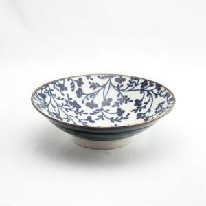 和食器 陶器 和皿 モダン オフケ 草花 中皿 日本製 藍染 ジャパンブルー しゃれ カフェ  パスタ カレー 24cm オフケ草花8寸めん鉢|monomono-shop