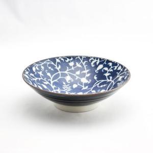 和食器 陶器 和皿 モダン オフケ 花からくさ 唐草 中皿 日本製 藍染 ジャパンブルー おしゃれ カフェ  パスタ カレー 24cm オフケ花からくさ8寸めん鉢|monomono-shop