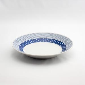 和食器 陶器 和皿 モダン 蒼露反 中皿 日本製 藍染 ジャパンブルー おしゃれ カフェ パスタ カレー 24cm 蒼露反8寸皿|monomono-shop