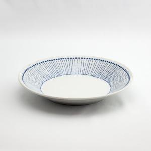 和食器 陶器 和皿 モダン 蒼十草反 中皿 日本製 藍染 ジャパンブルー おしゃれ カフェ パスタ カレー 24cm 蒼十草反8寸皿|monomono-shop