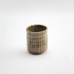 煎茶 カップ 湯のみ おしゃれ 和食器 陶磁器 麦わらて 麦藁手 シマシマ 織部焼 煎茶カップ 麦わらて・織部 monomono-shop