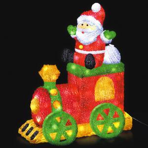 LEDクリスタルモチーフサンタトレイン クリスマス イルミネーション 豪華 サンタクロース イルミ かわいいクリスタルモチーフ ACアダプター|monoplan