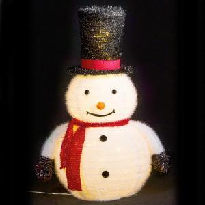 フォールディングデコレーションスノーマン クリスマス オブジェ イルミネーション 電飾 装飾 飾り イルミ かわいい ACアダプター|monoplan