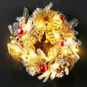LEDフロッキーリース電池式(LED付) クリスマス 玄関飾り 直径50cm オブジェ イルミネーション 電飾 装飾 飾り イルミ かわいい|monoplan