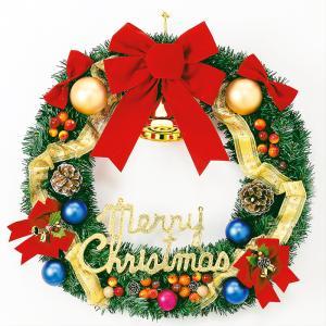 60cmゴールドリボンリース クリスマス 玄関飾り 直径60cm オブジェ 装飾 飾り|monoplan