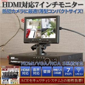 【HDMI対応】7インチ液晶モニターVGA RCA HDMI 3系統入力 音声対応 リモコン付