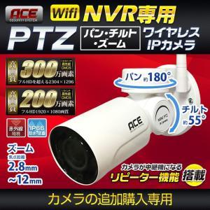 NVR録画機専用 PTZタイプ]無線IPカメラ パン・チルト・ズーム 単品 追加用 ワイヤレス 屋内・屋外用 WiFi 無線  高画質200万画素|monosupply