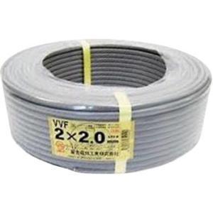 600Vビニル絶縁ビニルシースケーブル平形 VVF(単線タイプ) 富士電線工業 VVF2.0mmx2C 100M