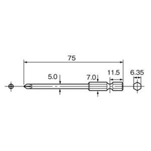 片頭プラスビット(磁石付) パナソニック(Panasonic) EZ981 #2(+)75mm