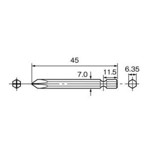 片頭プラスビット(磁石付) パナソニック(Panasonic) EZ9805 #2(+)45mm