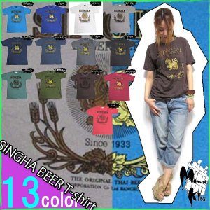 全13色 タイ/アパレル SINGHA BEER (ビール)Tシャツ/ATTH-34/酒/ビアー/women/男性/女性/アジアン/エスニック/アパレル/薄手/男女兼用/print/ユニセックス/