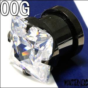 ボディピアス 00G スクエアークリアジュエル ブラック プラグ(10.0mm) BPPL-36-00G ディーピアス イヤーロブ インナーコンク アウターコンク|monsterkids