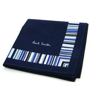 【送料無料】ギフトプレゼントPaul Smithポールスミスマルチストライプ装飾ロゴ入りハンカチ新品正規品PS313|monstyle