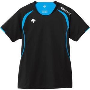 DESCENTE(デサント) レディース バレーボール 半袖ライトゲームシャツ DSS-5421W ブラック×Pブルー XO|montaukonline
