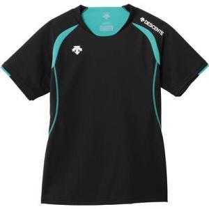 DESCENTE(デサント) レディース バレーボール 半袖ライトゲームシャツ DSS-5421W ブラック×Eグリーン XO-B|montaukonline