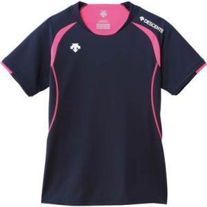 DESCENTE(デサント) レディース バレーボール 半袖ライトゲームシャツ DSS-5421W ネイビー×Pピンク M|montaukonline