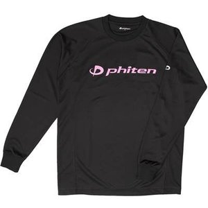 ファイテン(phiten) RAKUシャツ SPORTS 吸汗速乾 長袖 ブラック(ピンクロゴ) LL|montaukonline